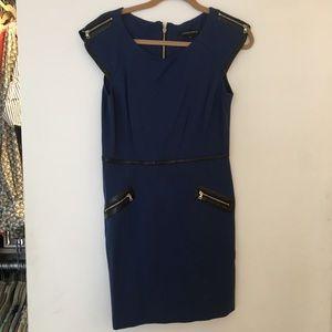 Cynthia Steffe Navy Dress w Leather/zipper Accents
